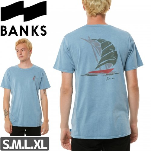 【BANKS JOURNAL バンクス サーフ Tシャツ】HULA TEE【ライトブルー】NO1