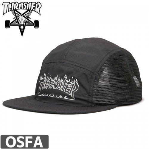 【スラッシャー THRASHER  キャップ】FLAME OUTLINE 5-PANEL CAP【ブラック】NO37