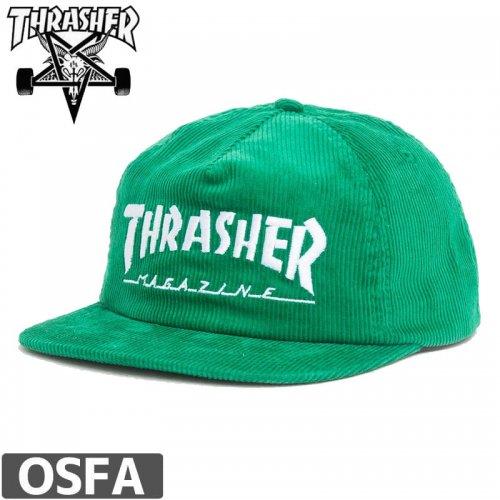 【スラッシャー THRASHER  キャップ】NAPBACK MAG LOGO CORDUROY CAP【グリーン】NO40