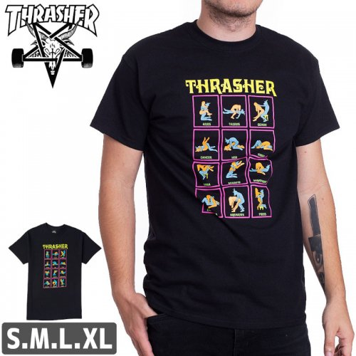 【スラッシャー Tシャツ THRASHER スケボー】BLACK LIGHT T-SHIRT【ブラック】NO103