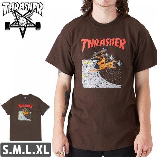【スラッシャー Tシャツ THRASHER スケボー】NECKFACE INVERT T-SHIRT【ブラウン】NO104