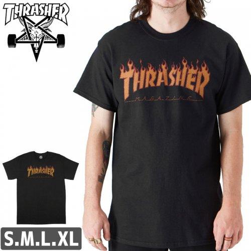 【スラッシャー Tシャツ THRASHER スケボー】FLAME HALFTONE T-SHIRT【ブラック】NO105