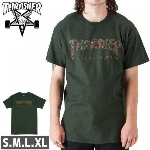 【スラッシャー Tシャツ THRASHER スケボー】DAVIS T-SHIRT【グリーン】NO106