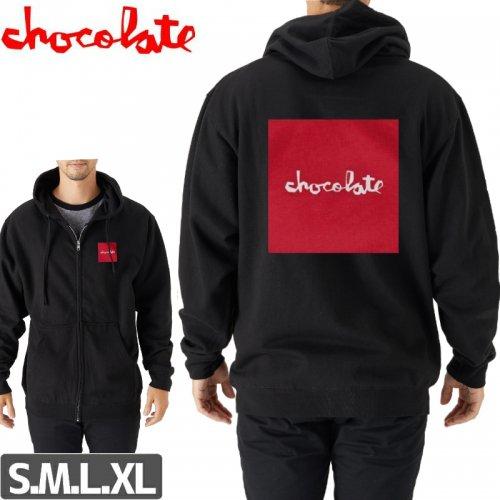 【チョコレート CHOCOLATE スケボー パーカー】RED SQUARE ZIP HOODIE【ブラック】NO35