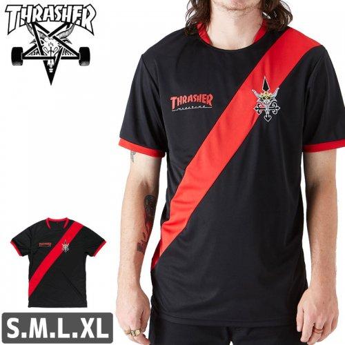【スラッシャー Tシャツ THRASHER スケボー】FUTBOL JERSEY【ブラック】サッカージャージ NO107