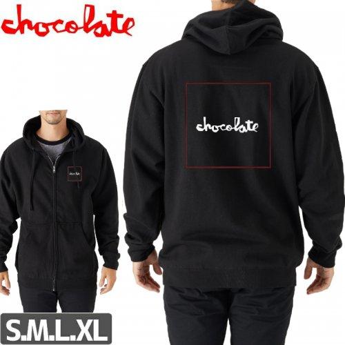 【チョコレート CHOCOLATE スケボー パーカー】TWO TONE SQUARE ZIP HOODIE【ブラック】NO36