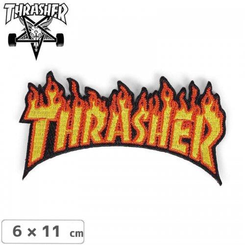【スラッシャー THRASHER スケボーワッペン】USA規格 PATCHES FLAME【6 x 11cm】NO3