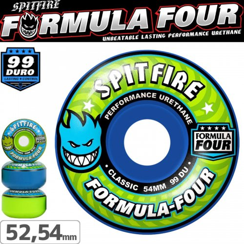 【SPITFIRE スピットファイアー ウィール】F4 CLASSIC BLUE/GREEN MASH UP【52mm】【54mm】NO225