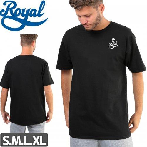 【ロイヤル ROYAL TRUCKS スケボー Tシャツ】SKULL SCRIPT【ブラック】NO59