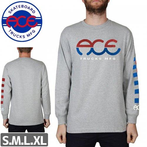 【ACE TRUCKS エース スケボー ロング Tシャツ】SPLIT STANDARD LOGO L/S【ヘザーグレー】NO1