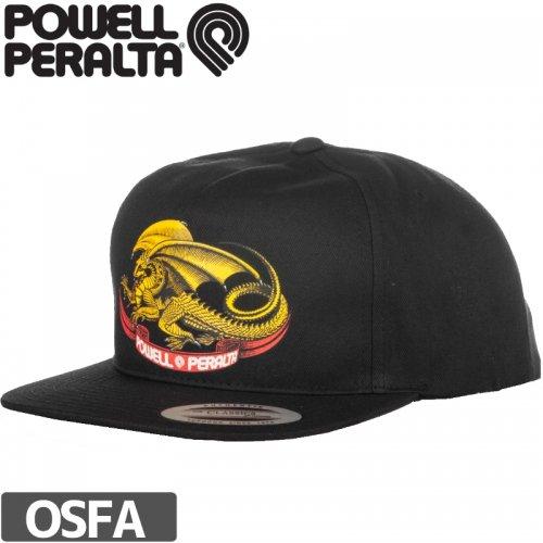 【パウエル POWELL スケボー キャップ】OVAL DRAGON SNAPBACK HAT【ブラック】NO9