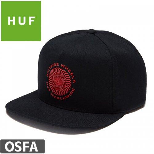 【HUF ハフ スピットファイア スケボー キャップ CAP】SPITFIRE SWIRL SNAPBACK HAT【ブラック】NO74