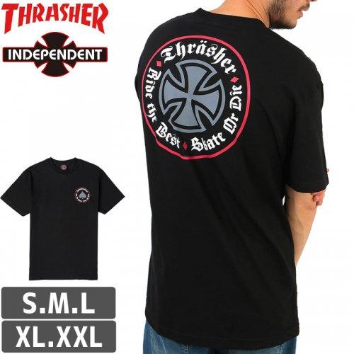【インディペンデント スラッシャー コラボ Tシャツ】INDEPENDENT X THRASHER OATH T-SHIRT【ブラック】NO161