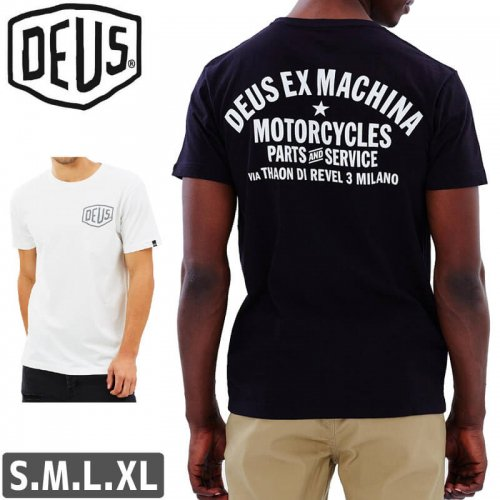 【DEUS EX MACHINA デウス ストリート Tシャツ】Milano Address Tee【ブラック/ホワイト】NO7