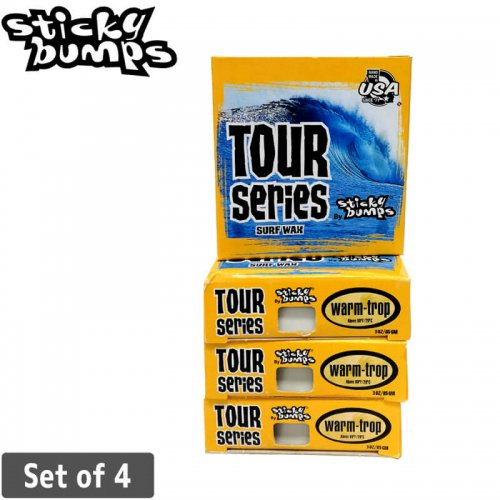 【サーフ ワックス サーフィン WAX】Sticky Bumps TOUR SERIES WARM/TROP 夏用【4個セット】NO4