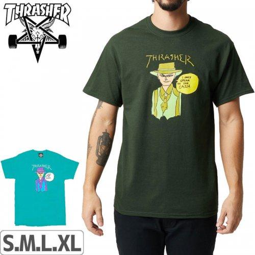 【スラッシャー Tシャツ THRASHER スケボー】GONZ CASH T-SHIRT【グリーン】【ブルー】NO108