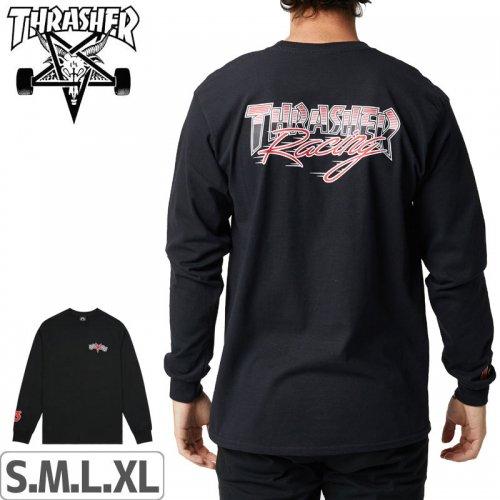 【スラッシャー THRASHER ロングTシャツ】RACING LONGSLEEVE T-SHIRT【ブラック】NO6
