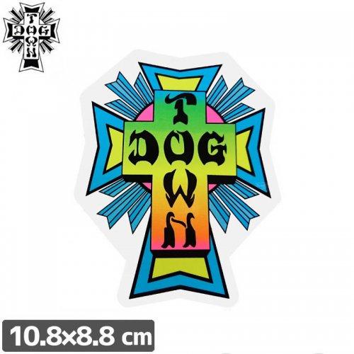 【ドッグタウン DOG TOWN スケボー STICKER ステッカー】CROSS LOGO NEON【10.8cm×8.8cm】NO15