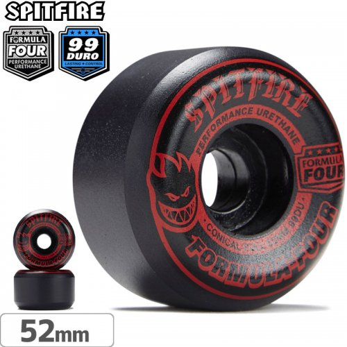 【SPITFIRE スピットファイアー ウィール】F4 FORMULA FOUR BLACKOUT RED CONICAL FULL【99D】【52mm】NO236