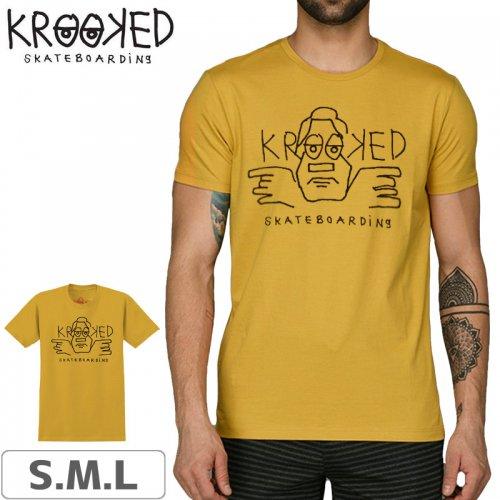 【KROOKED クルックド スケートボード Tシャツ】DUDE DOUBLE TEE【マスタード】NO80