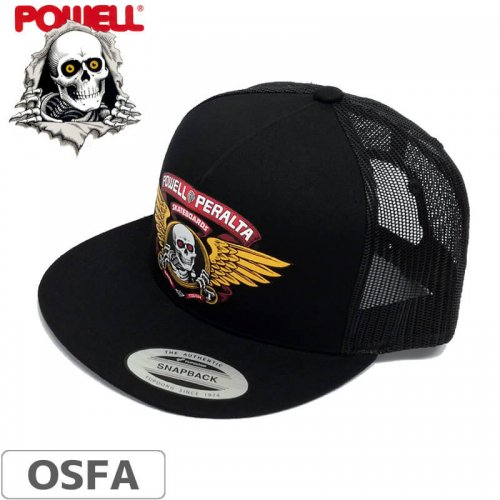 \1週間SALE/【パウエル POWELL PERALTA スケボー キャップ】WINGED RIPPER BLACK TRUCKER MESH CAP【ブラック】NO11