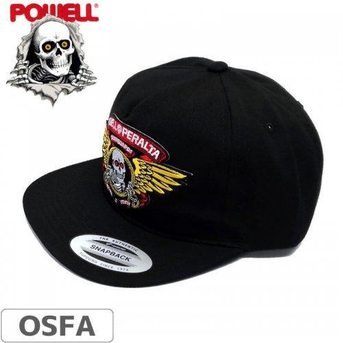 \1週間SALE/【パウエル POWELL PERALTA スケボー キャップ】WINGED RIPPER PATCH SNAPBACK HAT【ブラック】NO12