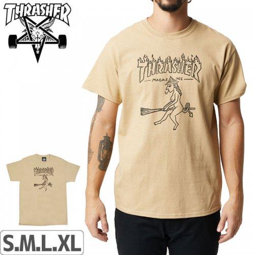 【スラッシャー Tシャツ THRASHER スケボー】WITCH T-SHIRT【タン】NO109