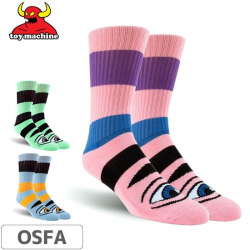 【TOY MACHINE トイマシーン ソックス】Sect Eye Big Stripe Socks NO44