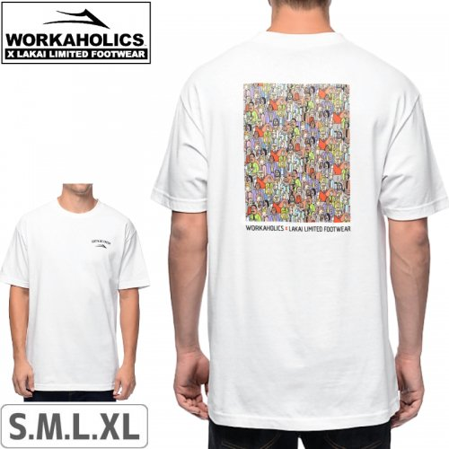 【LAKAI LIMITED FOOTWEAR ラカイ スケボー Tシャツ】LAKAI x WORKAHOLICS GET WEIRD TEE【ホワイト】NO36