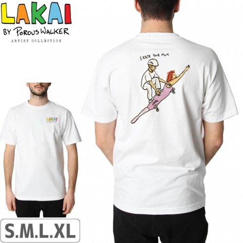【LAKAI LIMITED FOOTWEAR ラカイ スケボー Tシャツ】SKATE YOUR MOM TEE【ホワイト】NO39