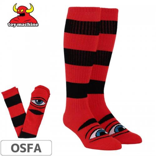 【TOY MACHINE トイマシーン ソックス】Sect Stripe Knee High Socks【レッド×ブラック】NO49