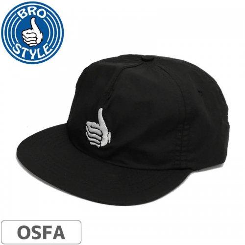 【BRO STYLE ブロスタイル スケボー キャップ】Thumb Unstructred Snapback Hat【ブラック】NO5