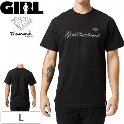 【ガール ダイアモンド スケボー Tシャツ】Girl x Diamond Supply Script T-Shirt【ブラック】NO300