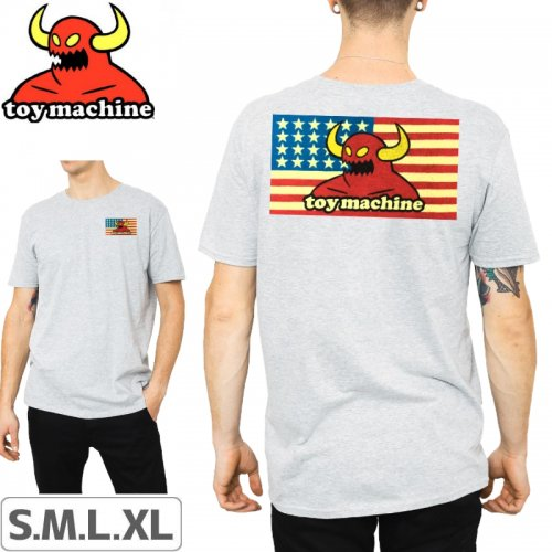 【トイマシーン TOY MACHINE スケボー Tシャツ】AMERICAN MONSTER TEE【グレー】NO247
