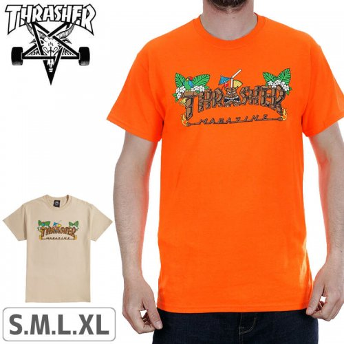 【スラッシャー Tシャツ THRASHER スケボー】(USAモデル)Thrasher Tiki T-Shirt NO111