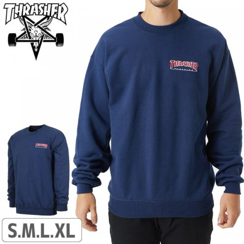 【スラッシャー スウェット THRASHER】(USAモデル)Embroidered Outlined Crewneck Sweatshirt 【ネイビー】NO24