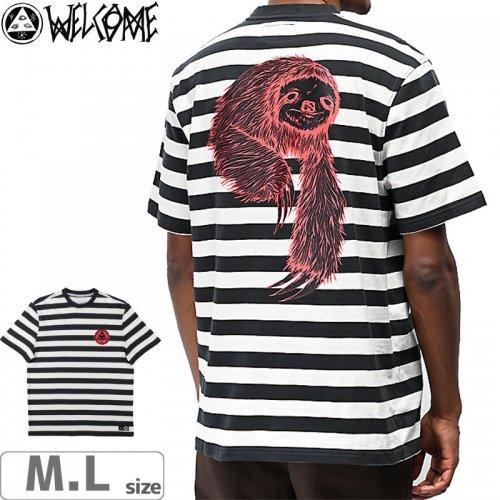 【WELCOME ウェルカム スケートボード Tシャツ】SLOTH PRINTED STRIPE TEE【ホワイト/ブラック】NO2