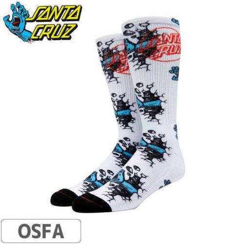 【サンタクルーズ SANTA CRUZ ソックス】Wall Hand Mens Tall Socks【ホワイト】NO15