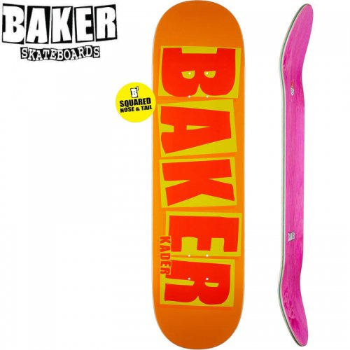 【ベーカー BAKER スケボー デッキ】KADER BRAND NAME ORANGE DECK SQUARED[8.5インチ]NO226