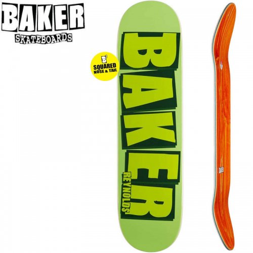 【ベーカー BAKER スケボー デッキ】REYNOLDS BRAND NAME GREEN DECK SQUARED[8.125インチ]NO228