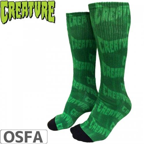 【スケボー ソックス CREATURE クリーチャー】LOGO WARP CREW SOCKS【グリーン】NO15
