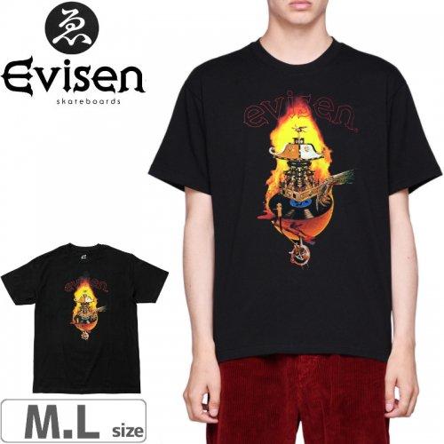 【EVISEN エビセン スケボー Tシャツ】SPIN FIRE TEE【ブラック】NO3