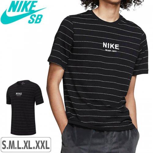 【ナイキ エスビー Tシャツ】NIKE SB TEE STRIPE AOP【ブラック】NO56
