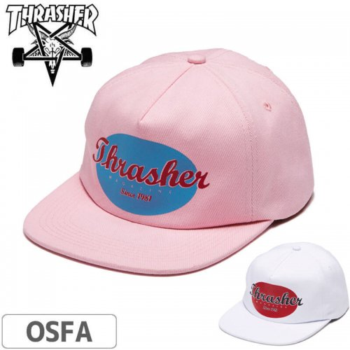 【スラッシャー Thrasher キャップ】(USAモデル)OVAL SNAPBACK CAP【ピンク】【ホワイト】NO49
