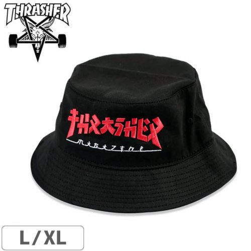【スラッシャー ゴジラ コラボ ハット】USAモデル THRASHER GODZILLA BUCKET HAT【ブラック】NO50