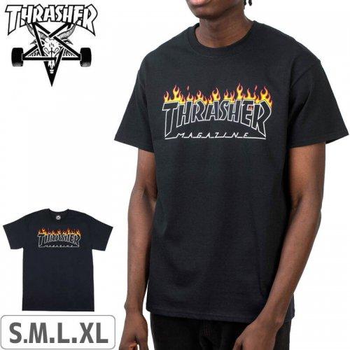 【スラッシャー THRASHER Tシャツ】USモデル Scorched Outline T-Shirt【ブラック】NO118