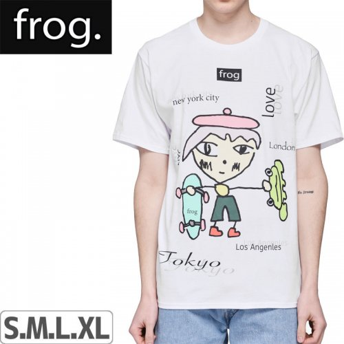 【FROG SKATEBOARDS フロッグ スケートボード Tシャツ】WORLD WIDE LOVE TEE【ホワイト】NO3