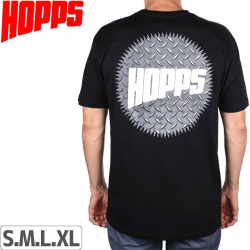【HOPPS ホップス スケボー Tシャツ】DIAMOND PLATE SUN LOGO TEE【ブラック】NO2