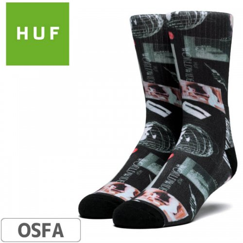 【HUF ハフ スケボー ソックス】Headlines Sock【ブラック】NO60
