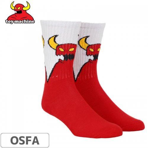 【トイマシーン TOY MACHINE スケボー ソックス】Sketchy Monster Crew Socks【レッド】NO51